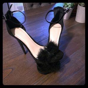Cute feathered heel